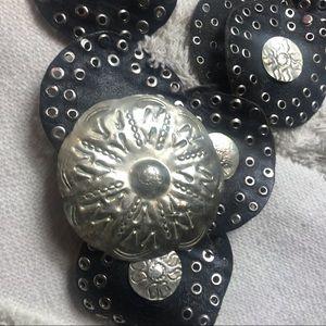 Accessories - Hammered Silver Metal & Leather Belt Boho vintage